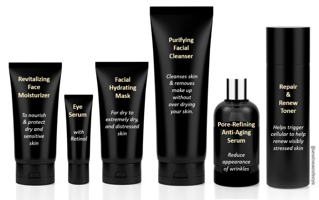 """A generic photo of skin care product bottles and tubes coloured in black. The author had included skin care marketing terms such as """"Repair & Renew Toner - Helps trigger cellular to renew visibly stressed skin"""""""