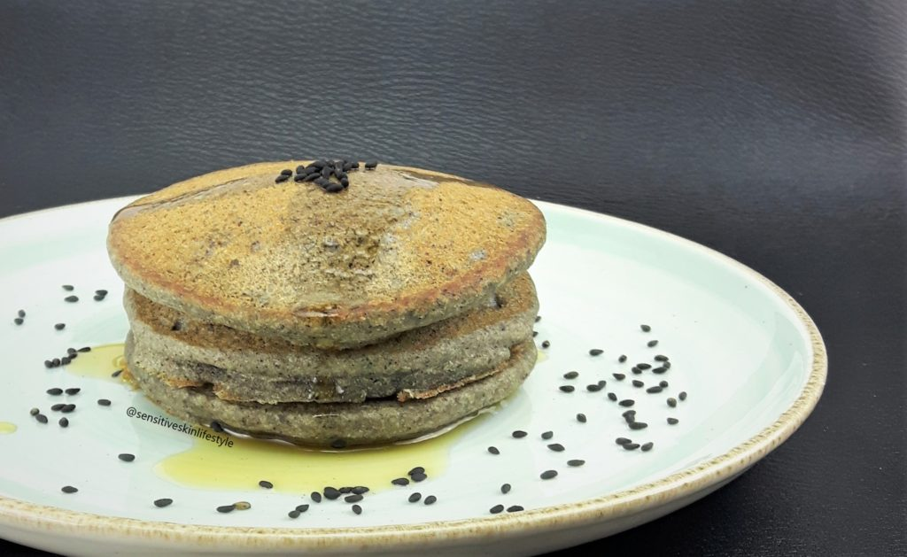 Side view of Catherine's Black Sesame Buckwheat Pancakes