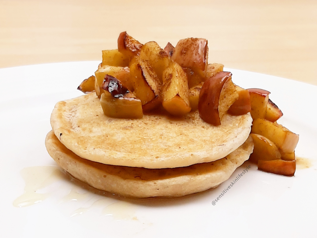 Gluten Free Vegan Cassava Pancakes with Maple Apple Sauce