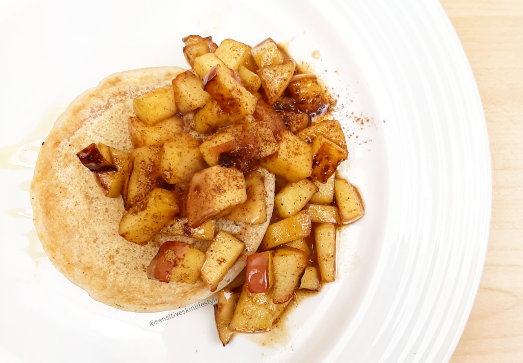 Gluten-free Vegan Cassava Pancakes with Maple Apple Sauce