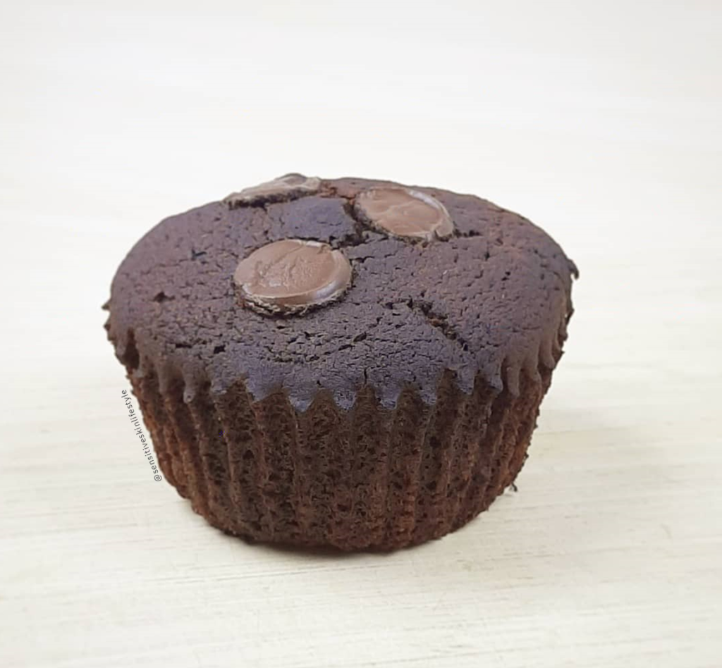 gluten free, dairy free, egg free and nut free chocolate cupcake made out of cassava flour