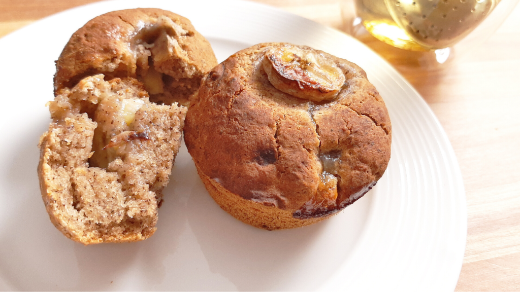 catherine's banana buckwheat muffin with a peppermint tea on the side