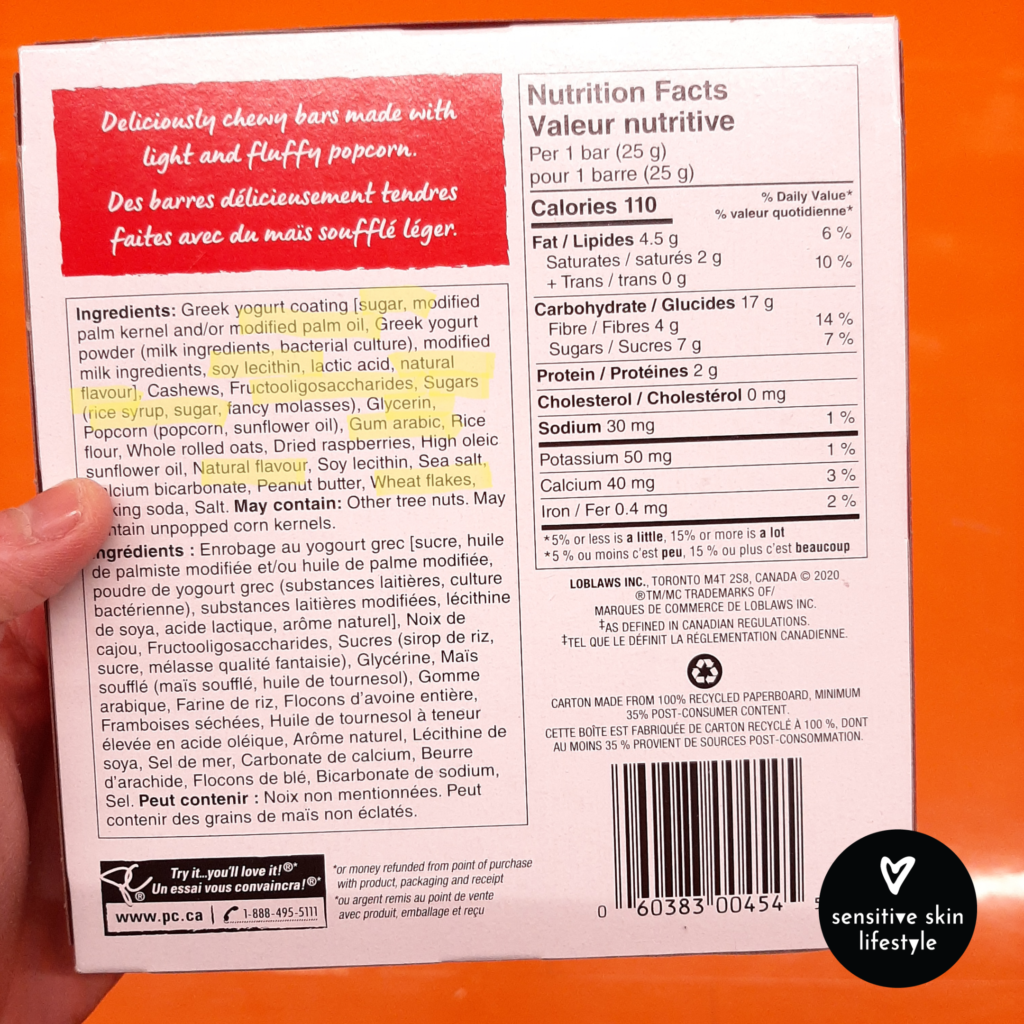 ingredients and calorie information